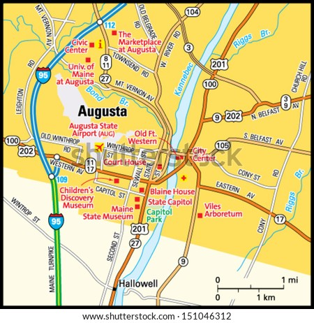 Augusta Maine Area Map  Stock Vector