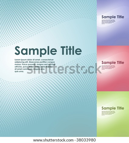 Austere halftone business title page vector template with copyspace in four color schemes. - stock vector