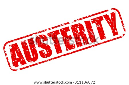 AUSTERITY red stamp text on white - stock vector