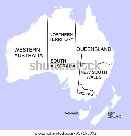 Australia and New Zealand - stock vector
