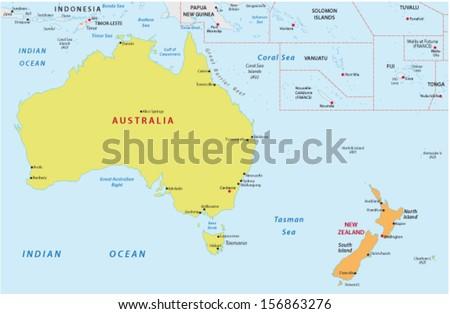 Australia new zealand map stock images royalty free images australia and new zealand map sciox Gallery