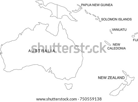Australia Oceania Map Coloring Book Outlines Stock Vector 750559138 ...