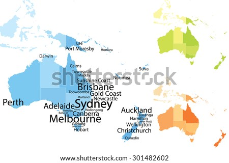 Australia and Oceania map with largest cities. Carefully scaled text by city population. Visit more illustrations in my collection! - stock vector