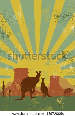 Australia background, vector - stock vector