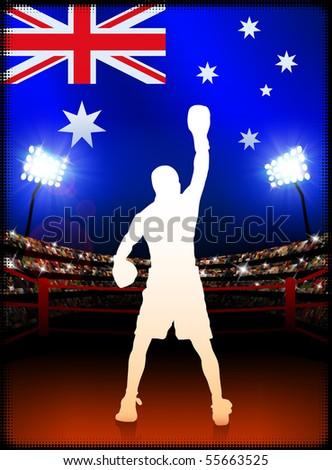Australia Boxing Event with Stadium Background and Flag Original Illustration - stock vector