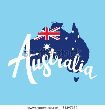 Australia brush lettering. Map of Australia with flag. Vector illustration. Isolated elements - stock vector