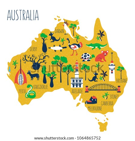 australia cartoon travel map vector illustration landmark perth bell tower harbour bridge of sydney