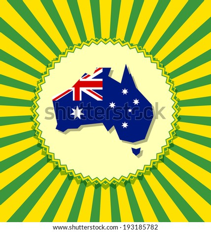 Australia continent with Australian national flag on striped yellow green background - stock vector