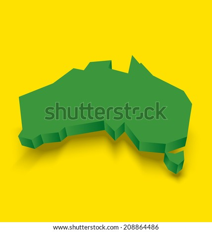 Australia continent with shadow underneath the shape on yellow background - stock vector