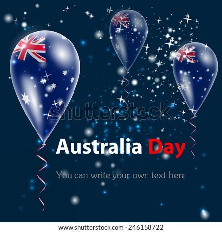 Australia Day. Flag of Australia in the form of a ball against the sky. I love Australia. Vector. Icon.  - stock vector