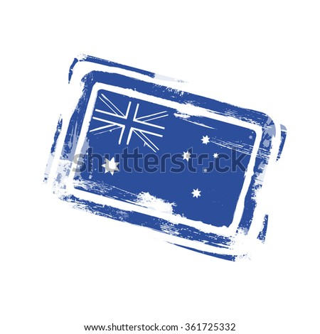 Australia Day Stamp Flag National Holiday Vector Illustration - stock vector
