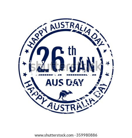 Australia day stamp in vector. Grange blue emblem for australia holiday on white background. Isolated illustration