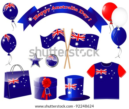 Australia day. Website icons. (flag, balloon, t-shirt, buttons, gift, hat ) EPS10. Vector illustration. - stock vector