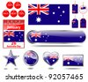 Australia day website icons. (flag, calendar icon, web buttons, sticker sale, tag, label) EPS10. Vector illustration. - stock vector