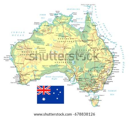 Australia Detailed Topographic Map Vector Illustration Stock - Australia detailed map