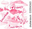 Australia Doodles Vector - stock photo