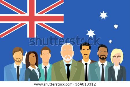 Australia Flag Businessmen Group of Business People Flat Vector Illustration - stock vector