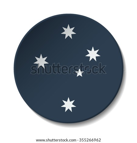 Australia Flag Button. Vector icon flag of Australia on white background. Paper cut style country flag.  - stock vector