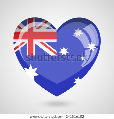 Australia Flag Heart Glossy Button - stock vector