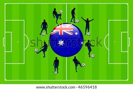 australia Flag Icon Internet Button with Soccer Match Original Vector Illustration - stock vector
