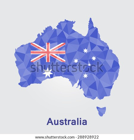 Australia flag map in geometric polygonal style.Abstract tessellation,background. Vector illustration EPS10
