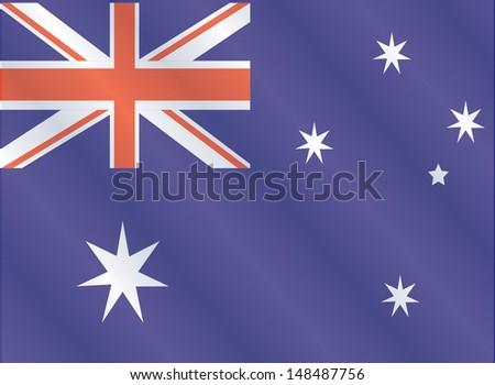 Australia flag, three dimensional render, satin texture - stock vector