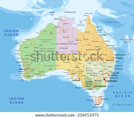 Australia highly detailed editable political map vector de australia highly detailed editable political map with separated layers gumiabroncs Gallery