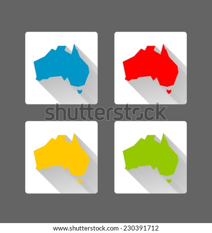 Australia icons in long shadow style on dark grey background - stock vector