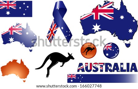 Australia Icons Set Vector Graphic Images Stock Vector 166027748