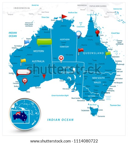 australia map and glossy icons on map detailed vector illustration of map