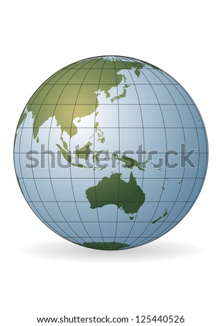 Australia map.  Ausia, Russia, Antarctica, North pole - stock vector