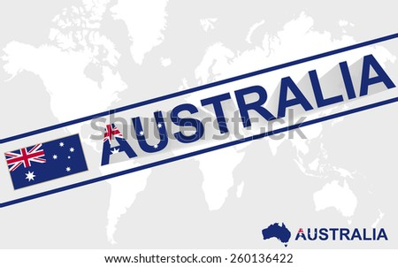 Australia map flag and text illustration, on world map - stock vector