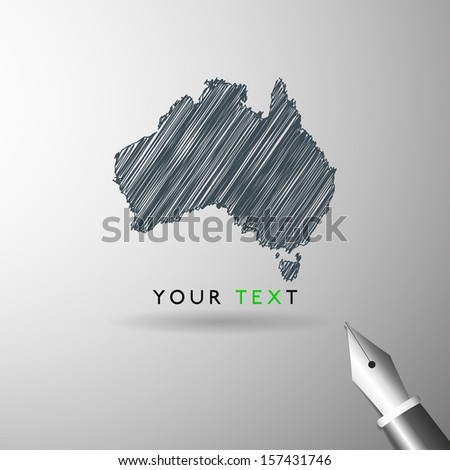 Australia map icon sketch in vector format - stock vector