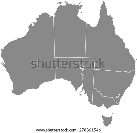 Australia map outlines, vector map of Australia with boundaries/ polygons or borders of counties or states or provinces in grey color background - stock vector