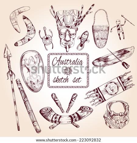 Australia native elements travel sketch decorative icons set isolated vector illustration - stock vector