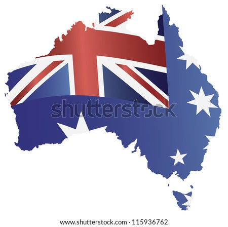Australia New South Wales Flag in Country Map Silhouette Isolated on White Background Vector Illustration - stock vector