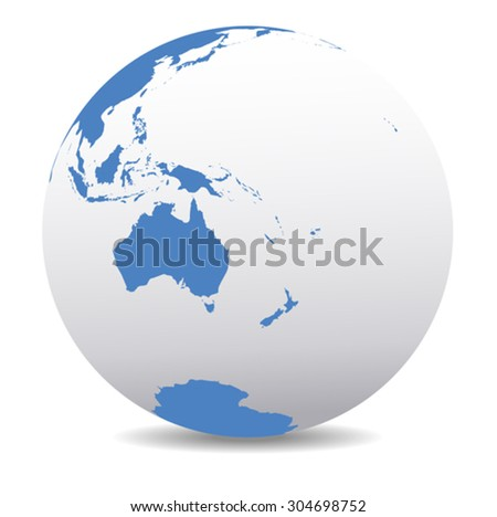 Australia, New Zealand, South Pole and the Pacific Ocean - Vector Map Icon of the World Globe - stock vector