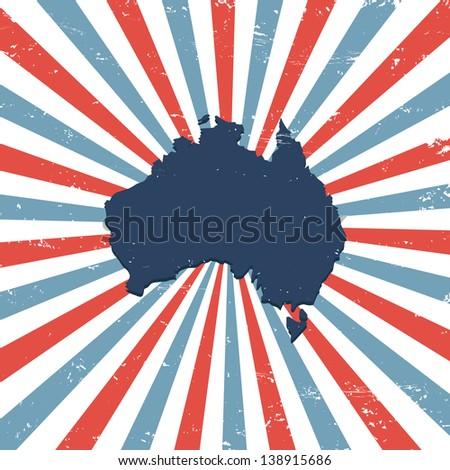 Australia on the map - stock vector