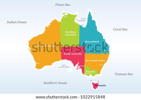 australia political map detailed well organised stock vector 1022915848 shutterstock