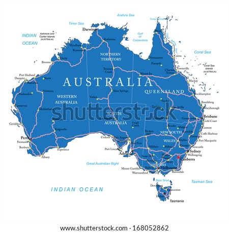 Australia road map - stock vector