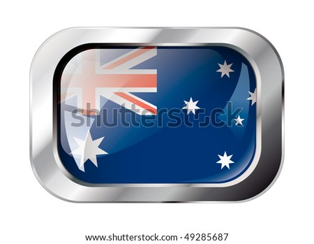 Australia shiny button flag vector illustration. Isolated abstract object against white background. - stock vector
