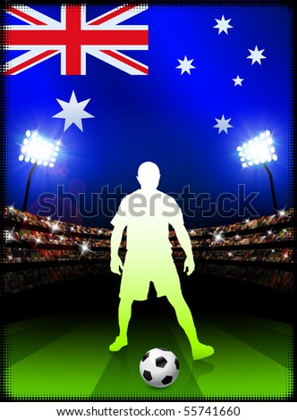 Australia Soccer Player on Stadium Background with Flag Original Illustration - stock vector
