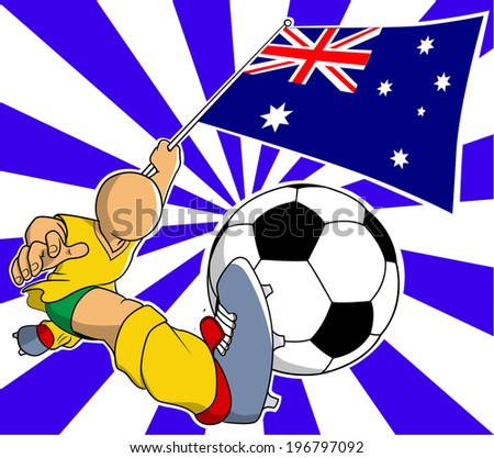 Australia soccer player with flag and ball vector - stock vector
