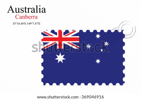 australia stamp design over stripy background, abstract vector art illustration, image contains transparency - stock vector