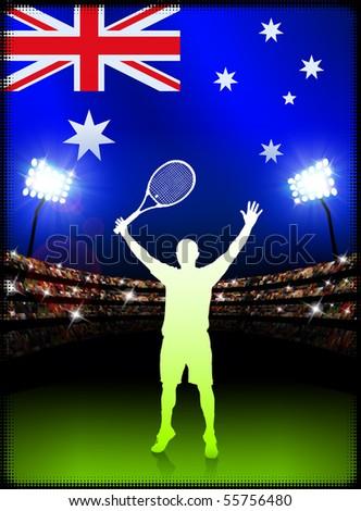 Australia Tennis Player on Stadium Background with Flag Original Illustration - stock vector