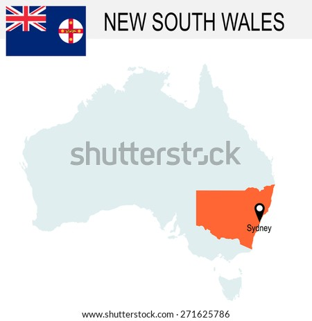 Australia Territories Of New South Walley's map and Flag - stock vector