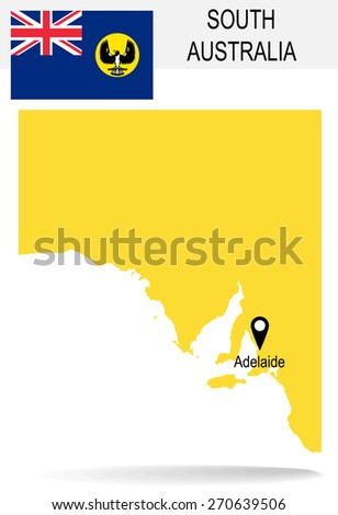 Australia Territories Of South Australia's map and Flag  - stock vector