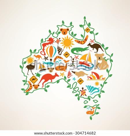 Australia travel map, decorative symbol of Australia continent with ethnic vector icons - stock vector
