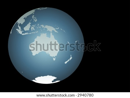 Australia (Vector). Accurate map of Australia, South East Asia, New Zealand. Mapped onto a globe. Includes New Guinea, Philippines, Antarctica, New Caledonia, smaller islands etc
