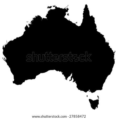 Australia vector detailed map - stock vector